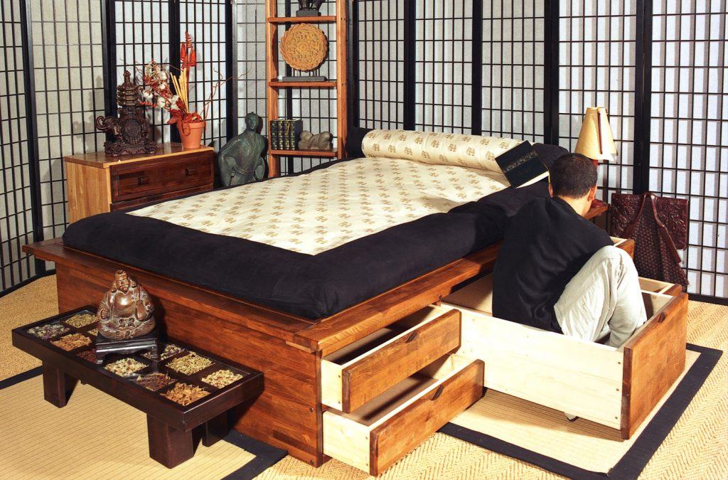 Lits tiroirs armoires lits et lits escamotables chez for Meuble bureau japonais